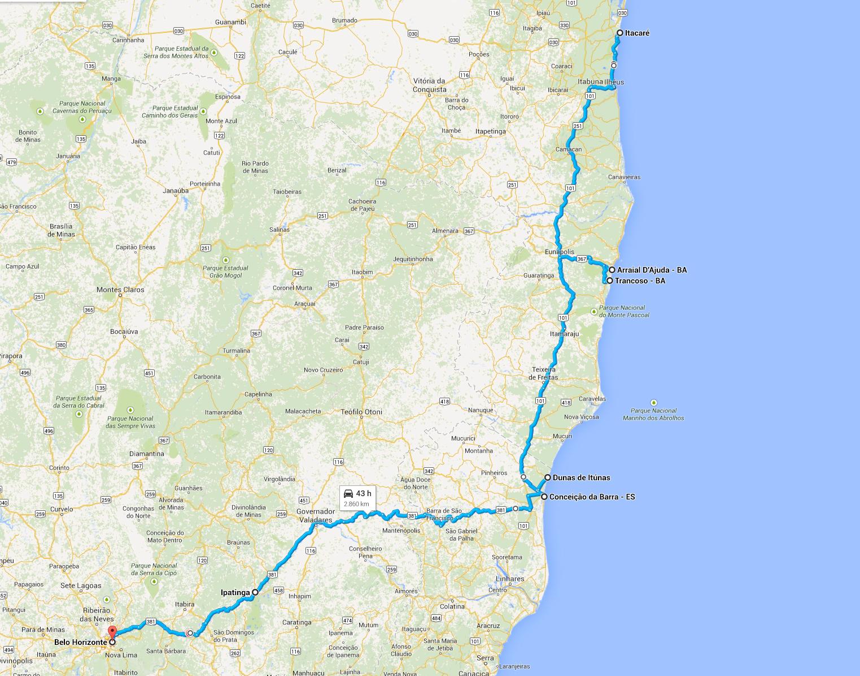 Mapa de Minas à Bahia