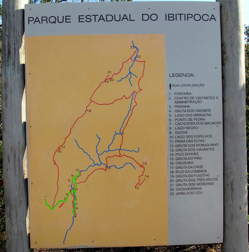 Trilhas do Parque do Ibitipoca. Só fizemos as que estão marcadas em verde!
