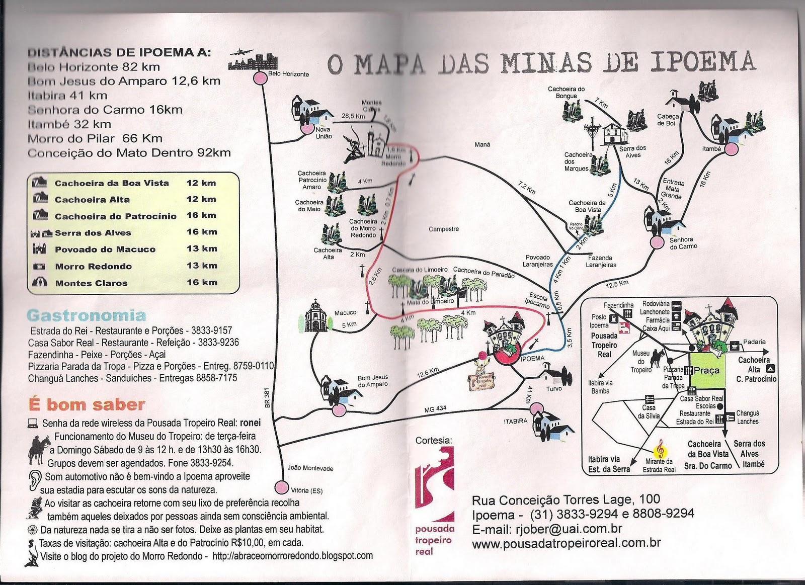 mapa das cachoeiras de Ipoema e região