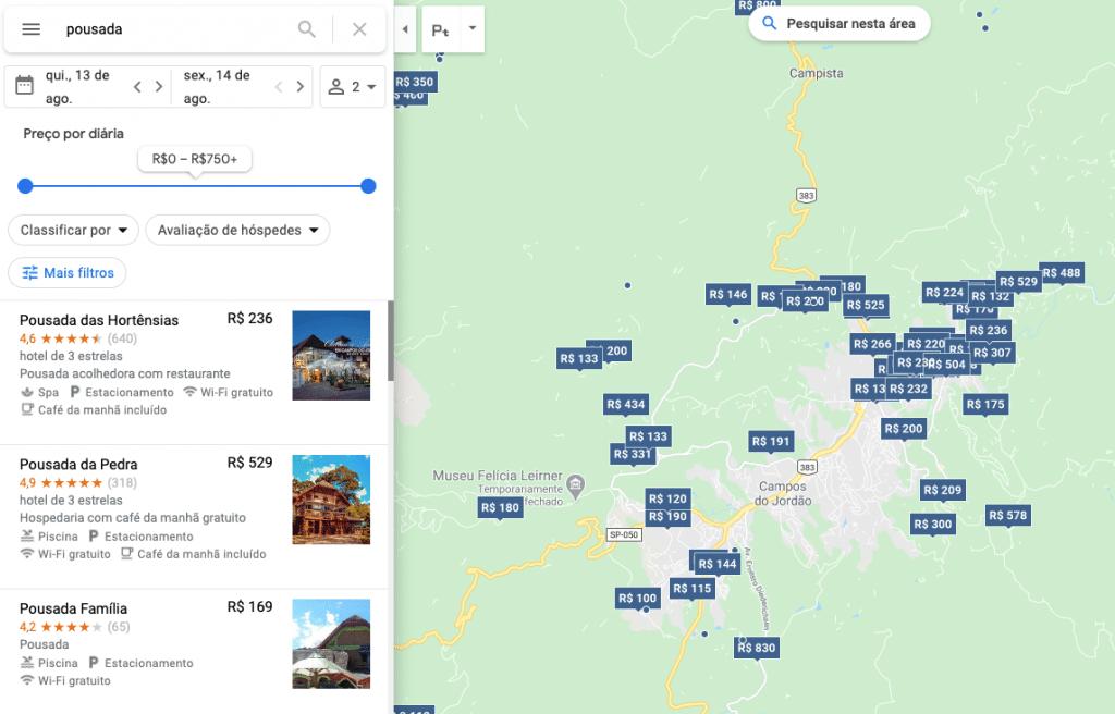 Procurando pousadas e hotéis no Google Maps