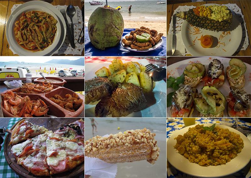 Vários tipos de comida como camarão no abacaxi, bife ancho com batatas, bruschettas, pizza, risoto e churro.